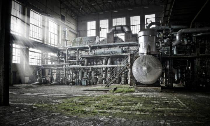 Industrie, Industrieanlage, Kessel, Turbine, alt, verwittert ...