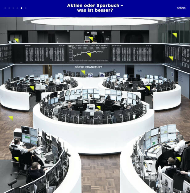Aktien oder Sparbuch, was ist besser? Antwort von der Börse Frankfurt unter http://www.frag-die-boerse.de, © Aussendung (09.07.2014)