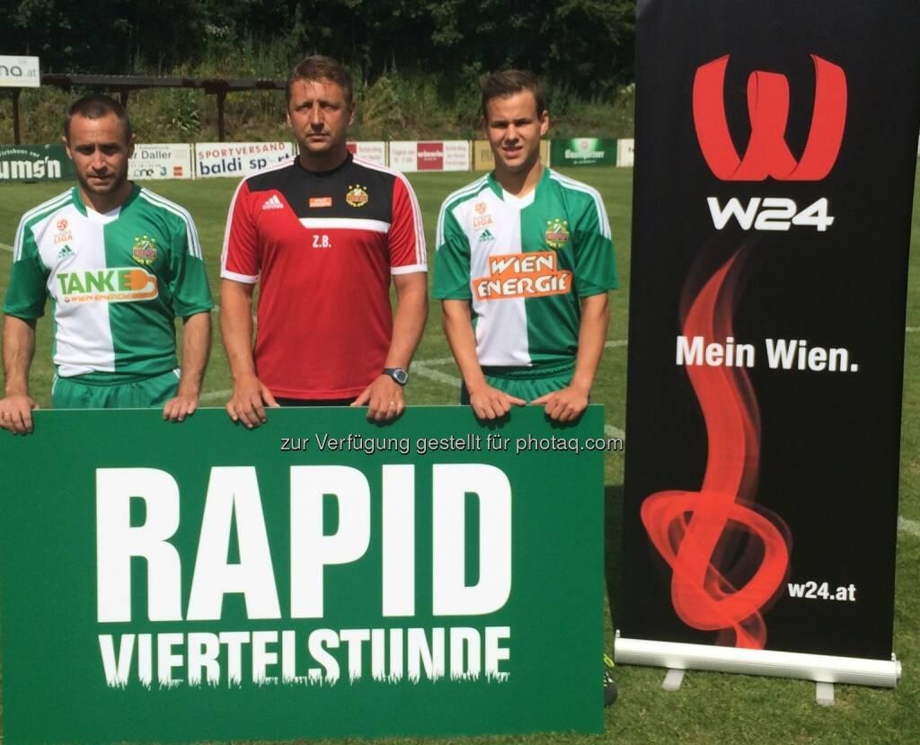 Das Wiener Stadtfernsehen W24 startet mit wöchentlichem TV-Magazin Rapid Viertelstunde: Steffen Hofmann (SK Rapid Kapitän), Zoran Barisic (SK Rapid Trainer), Luis Schaub (SK Rapid Mittelfeldspieler), © Aussendung (09.07.2014)