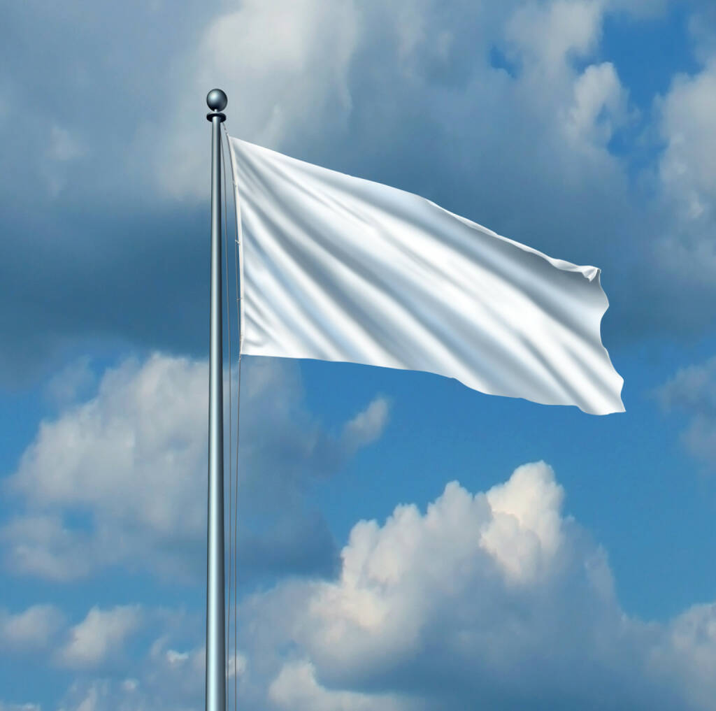 weiße Fahne, Fahne, aufgeben, hissen, nachgeben, http://www.shutterstock.com/de/pic-169932164/stock-photo-white-flag-surrender-symbol-as-a-metaphor-for-retreat-in-business-with-a-blank-cloth-on-a-flagpole.html (Bild: shutterstock.com) (10.07.2014)