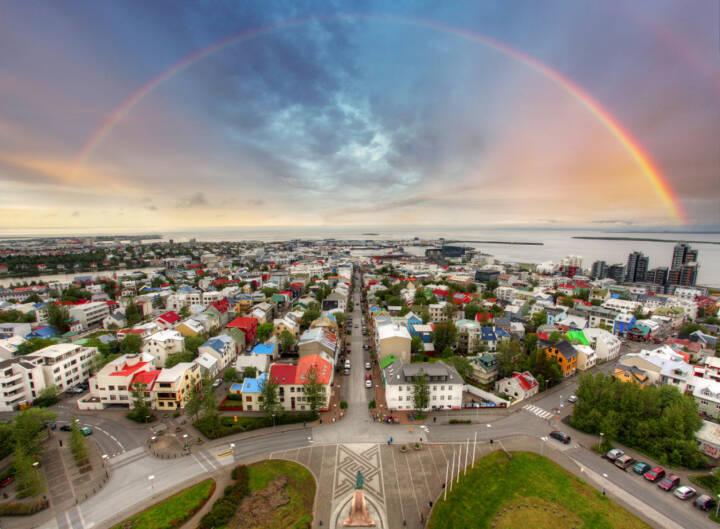 Reykjavik, Island, Regenbogen, http://www.shutterstock.com/de/pic-170753810/stock-photo-reykjavik-cityspace.html