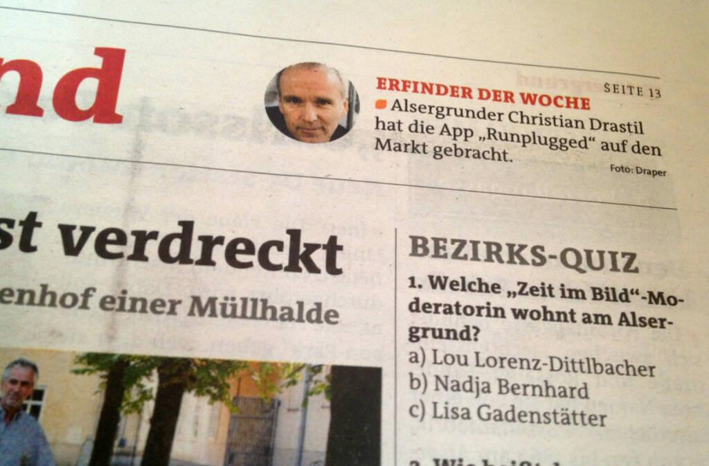 Christian Drastil Erfinder der Woche in der BZ (11.07.2014)
