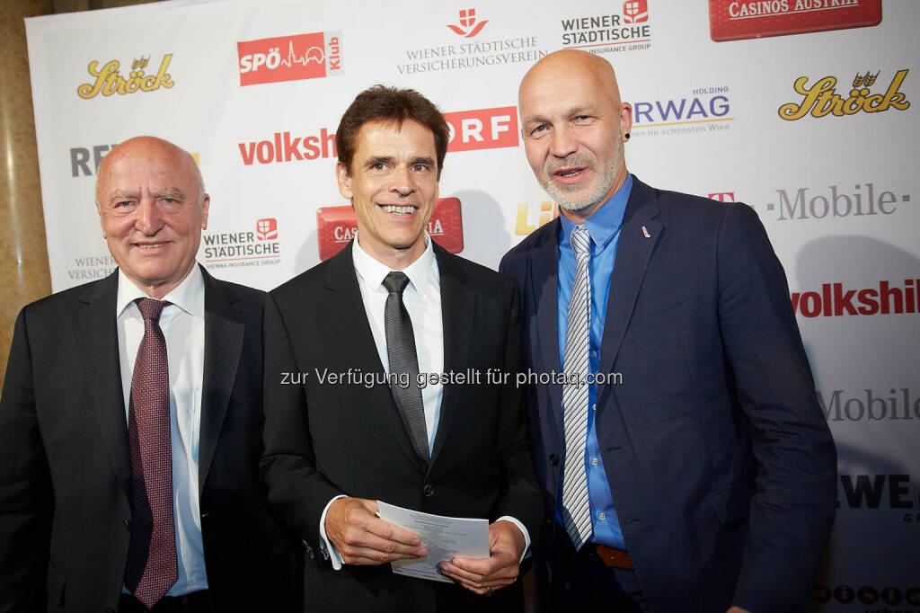 Volkshilfe Präsident Josef Weidenholzer, Thomas Brezina, Volkshilfe Bundesgeschäftsführer Erich Fenninger, © Volkshilfe Österreich/APA-Fotoservice/Preiss (11.07.2014)