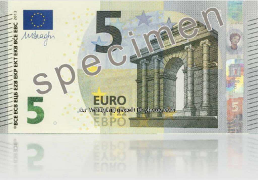Die neue 5 Euro Note (Vorderseite) - Ausgabe startet am 2. Mai 2013 (Bild: EZB/OeNB) (10.01.2013)