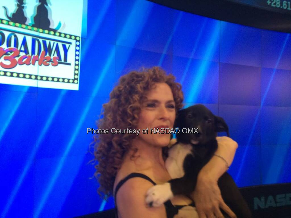 The legendary Bernadette Peters @officialBPeters with a @BroadwayBarks #Puppy at the Closing Bell! #Adopt #Broadway  Source: http://facebook.com/NASDAQ (13.07.2014)