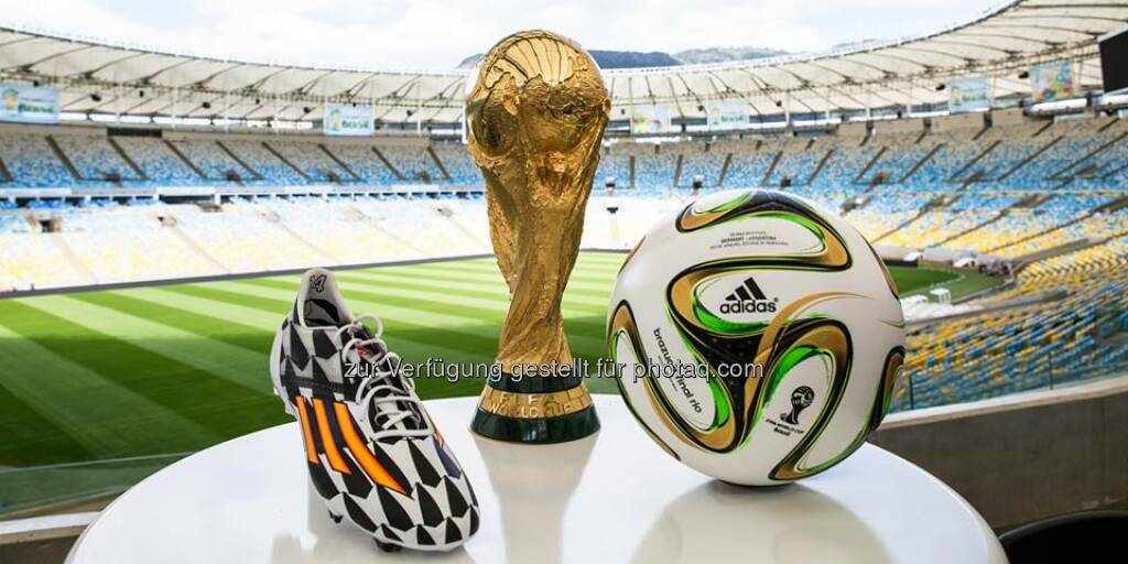 All the goals, all the tackles, all for this. A place in history. Forever or never, #allin or nothing. #WorldCupFinal, Pokal, Fussball, Schuh, Maracanã, Fussball WM 2014, Source: http://facebook.com/adidas, © Aussendung (14.07.2014)