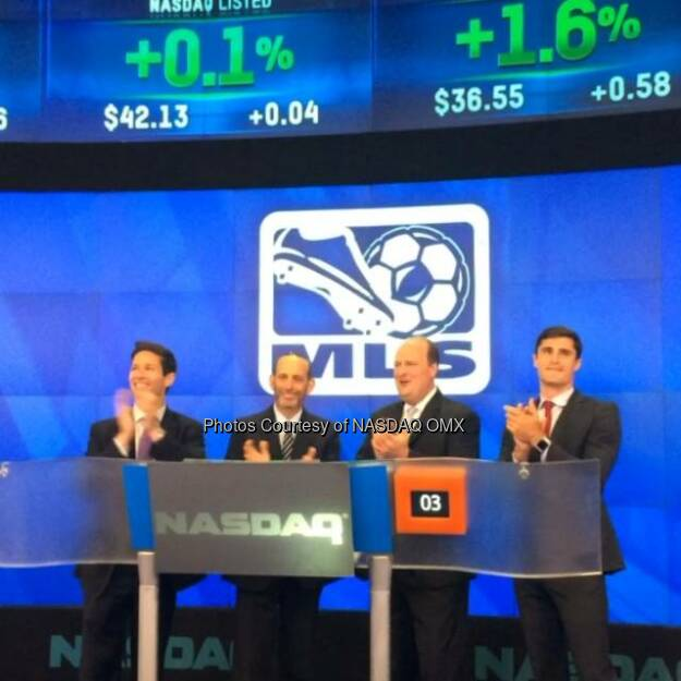 Major League Soccer rings the #NASDAQ Closing Bell #MLS @MLS @thesoccerdon  Source: http://facebook.com/NASDAQ (15.07.2014)