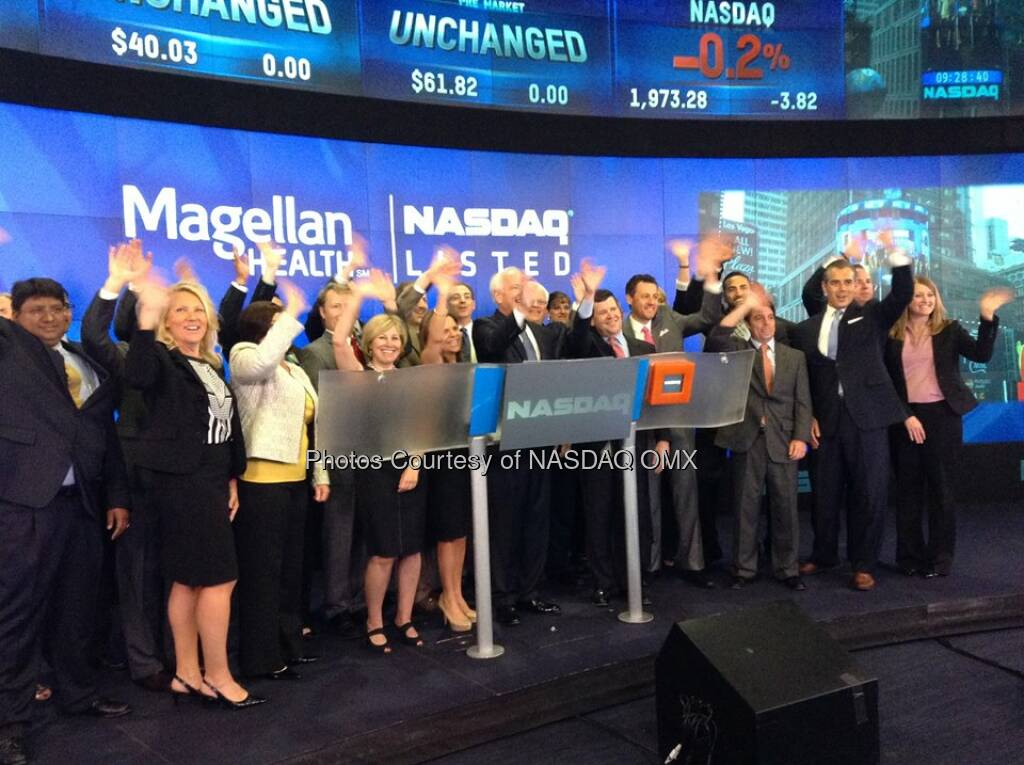 Magellan Health rings the #NASDAQ Opening Bell in honor of its 10th anniversary of listing! $MGLN  Source: http://facebook.com/NASDAQ (16.07.2014)