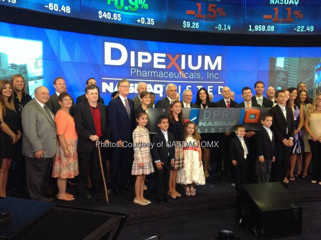 Dipexium Pharmaceuticals, Inc. (and family members!) ring the #NASDAQ Closing Bell! #DreamBIG $DPRX  Source: http://facebook.com/NASDAQ (18.07.2014)