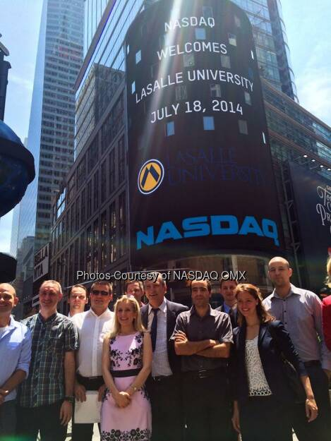 .@LaSalleUniv Executive MBA Students and Dean Joseph Ugras and @Melikea get a special tour of #NASDAQ!  Source: http://facebook.com/NASDAQ (18.07.2014)
