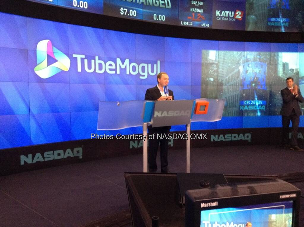 TubeMogul CEO poses with the Opening Bell crystal shortly before ringing the #NASDAQ Opening Bell in honor of #IPO!  Source: http://facebook.com/NASDAQ (18.07.2014)