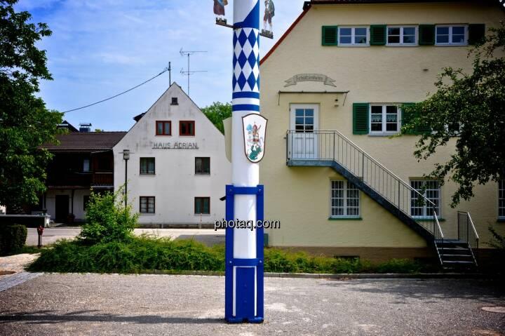 Bayern, blau weiss, Maibaum