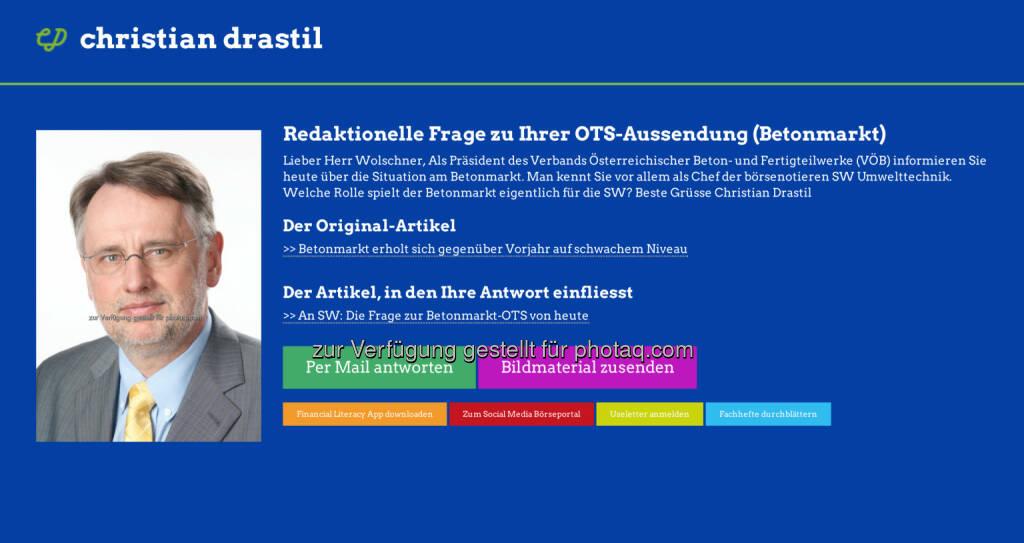 Redaktionelle Rückfrage (8) zur Betonmarkt-OTS an Bernd Wolschner http://christian-drastil.com/spreadit/all (21.07.2014)