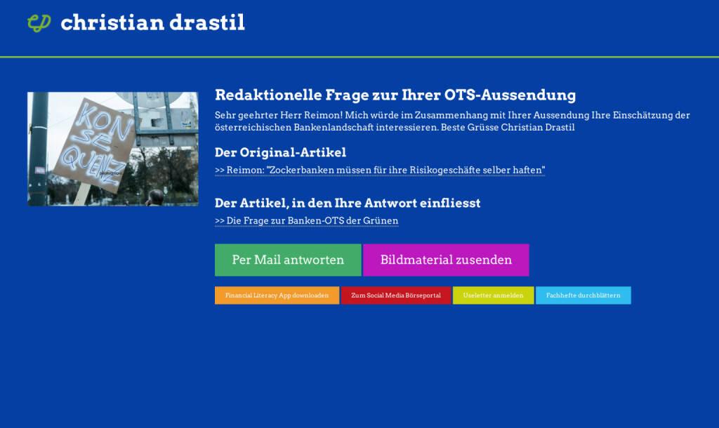 Redaktionelle Rückfrage (3) zur Die Grünen-OTS an Michel Reimon http://christian-drastil.com/spreadit/all (21.07.2014)
