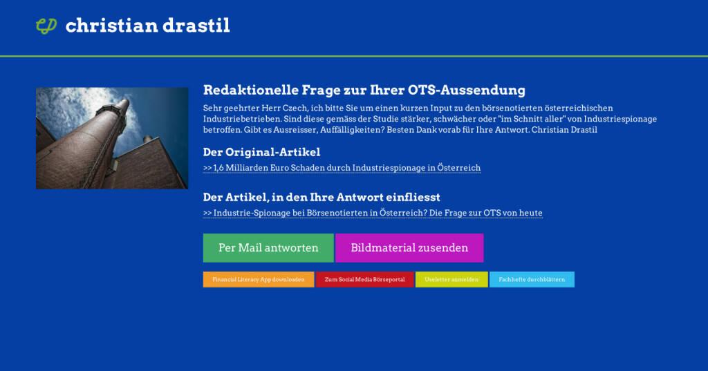Redaktionelle Rückfrage (6) zur Industriespionage-OTS http://christian-drastil.com/spreadit/all (21.07.2014)