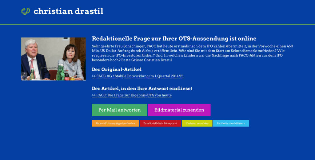 Redaktionelle Rückfrage (7) zur FACC-OTS an Andrea Schachinger http://christian-drastil.com/spreadit/all (21.07.2014)