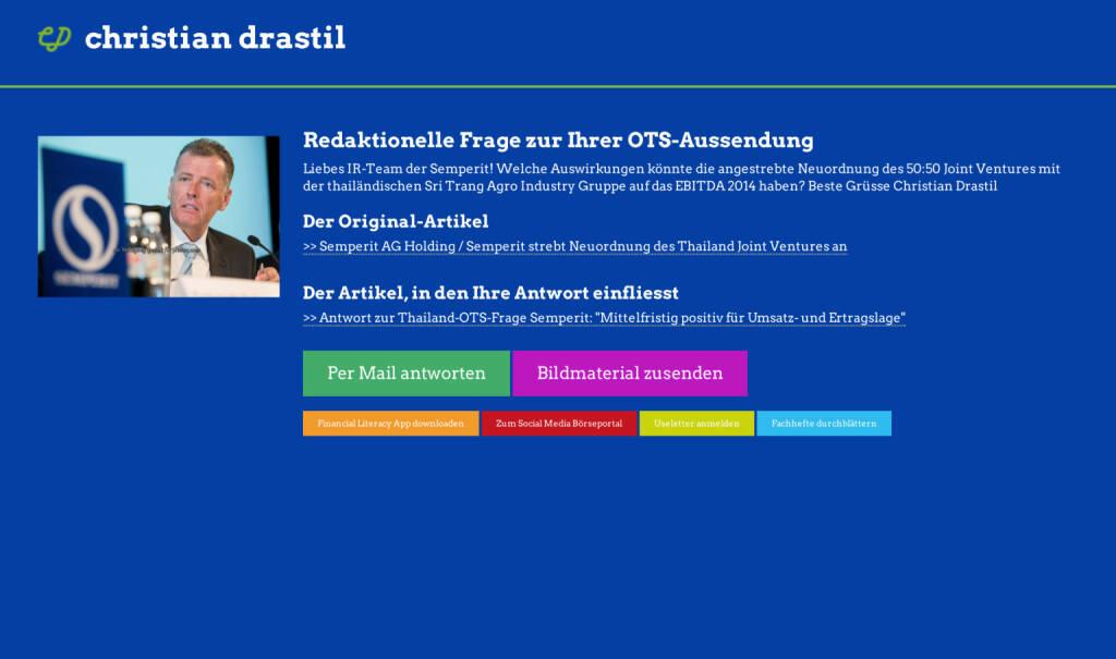 Redaktionelle Rückfrage (4) zur Semperit-OTS an Martina Büchele http://christian-drastil.com/spreadit/all (21.07.2014)