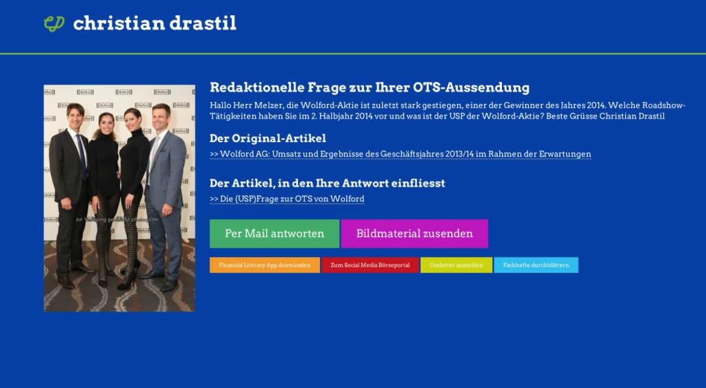 Redaktionelle Rückfrage (2) zur Wolford-OTS an Thomas Melzer http://christian-drastil.com/spreadit/all (21.07.2014)