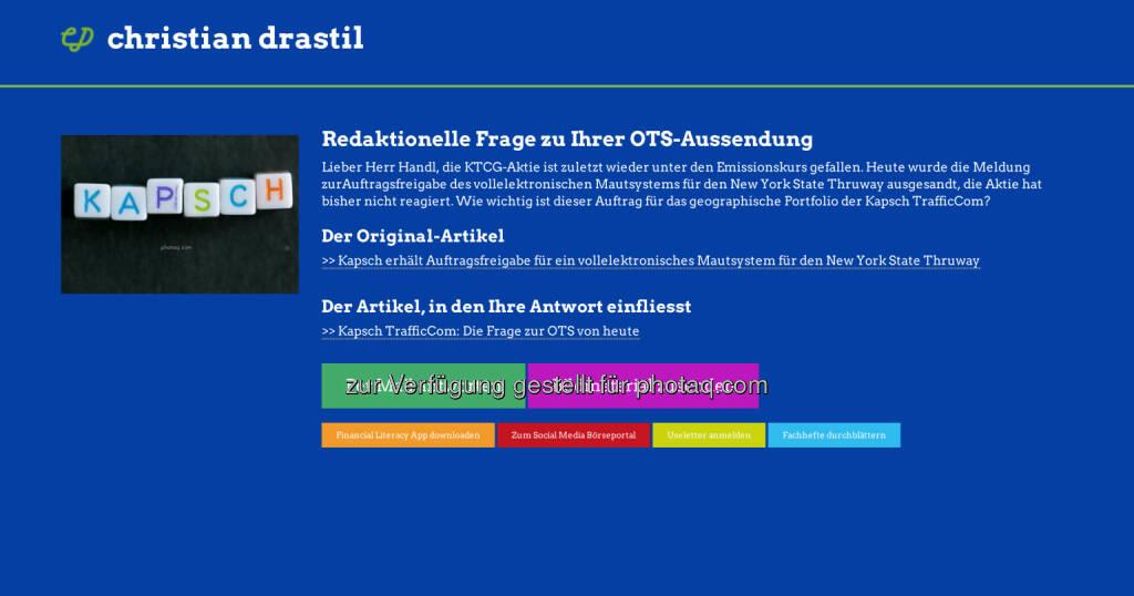 Redaktionelle Rückfrage (9) zur NY-OTS von Kapsch TrafficCom an Marcus Handl http://christian-drastil.com/spreadit/all (21.07.2014)