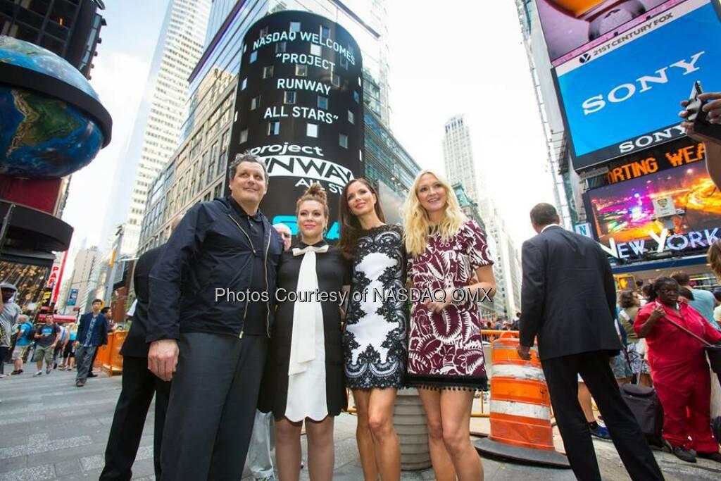 Alyssa Milano, Zanna Roberts Rassi, Isaac Mizrahi and Georgina Chapman ring the #NASDAQ Closing Bell to Celebrate the upcoming new season of Project Runway All-Stars  Source: http://facebook.com/NASDAQ (22.07.2014)