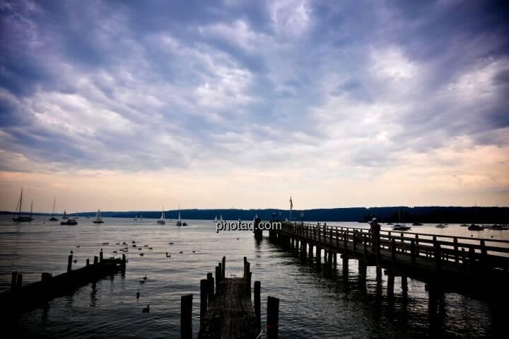 Steg, Wasser, Gewitter, Wolken, Horizont