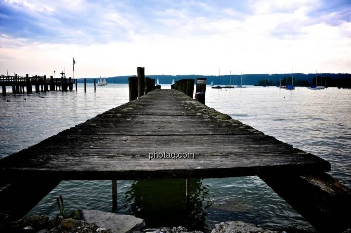 Steg, Horizont, See, Wasser