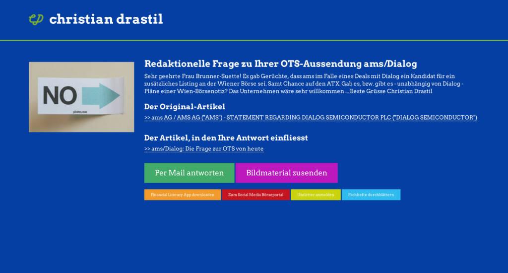 Redaktionelle Rückfrage (11) zur ams-OTS Dialog an Gudrun Brunner-Suette http://christian-drastil.com/spreadit/all (22.07.2014)