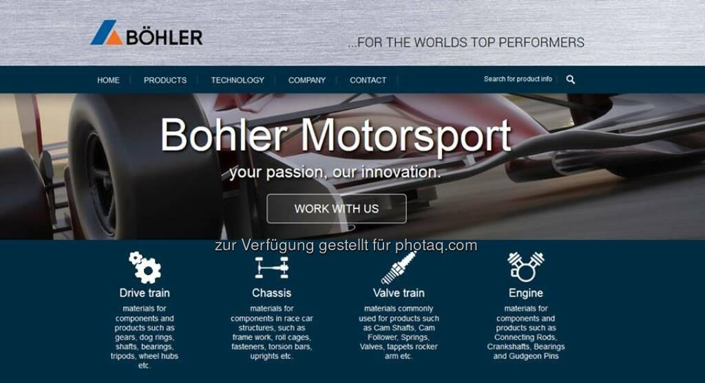 Bohler-Uddeholm (UK) Ltd startet mit neuer #Motorsport-Website! Die neue Website von Bohler UK konzentriert sich auf das Thema Böhler und Motorsport und soll Kunden im Motorsport auf unsere Produkte aufmerksam machen. http://bit.ly/1wZnC5z  Source: http://facebook.com/voestalpine, © Aussendung (23.07.2014)