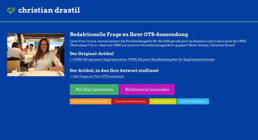Redaktionelle Rückfrage (13) zur Porr-OTS an Milena Ioveva http://christian-drastil.com/spreadit/all (23.07.2014)