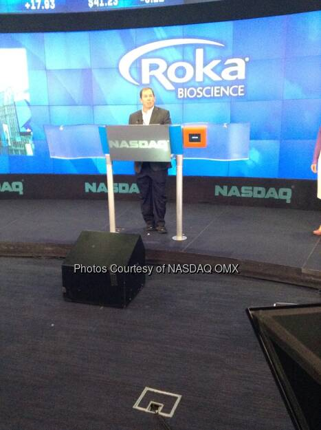 Roka Bioscience CEO Paul Thomas speaks before ringing the #NASDAQ Closing Bell to celebrate the company's #IPO!  Source: http://facebook.com/NASDAQ (24.07.2014)