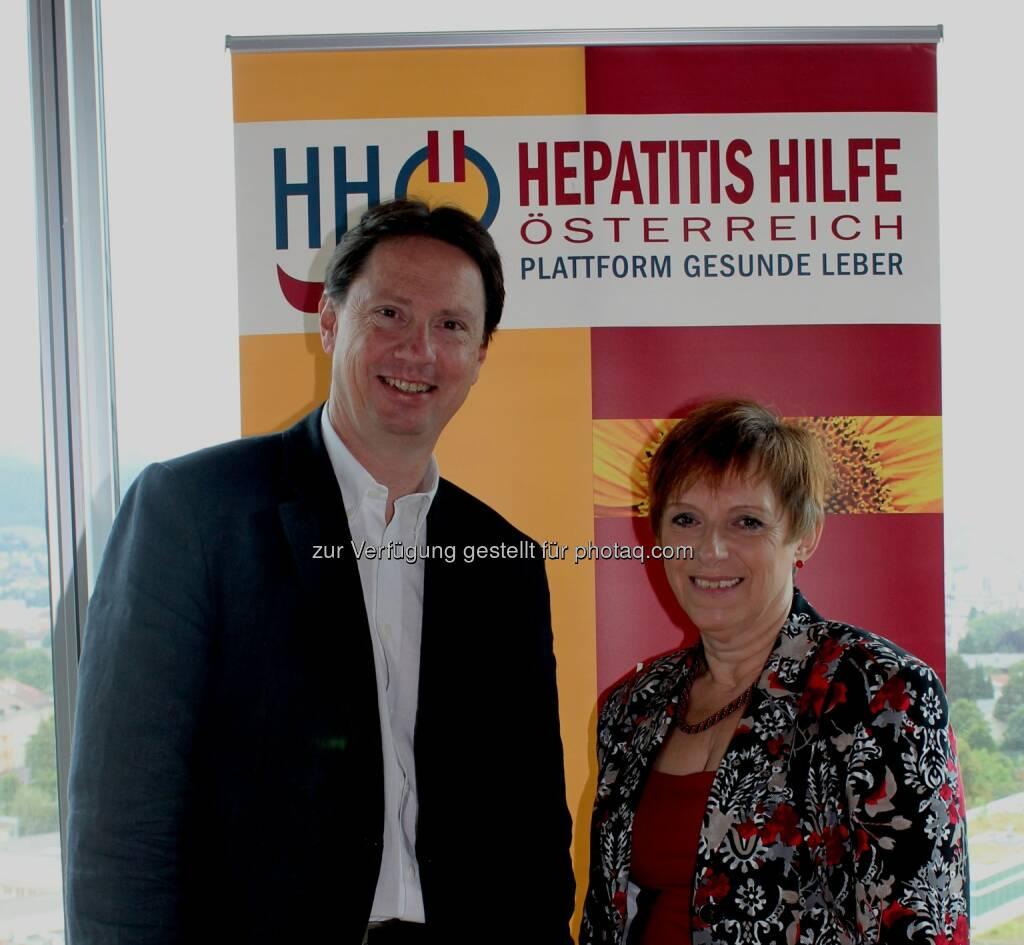 Ivo Graziadei (LKH Hall i. Tirol) und Angelika Widhalm (Präsidentin HHÖ) - Hepatitis Hilfe Österreich - Plattform Gesunde Leber (HHÖ): Welt-Hepatitis-Tag 28. Juli 2014 (24.07.2014)