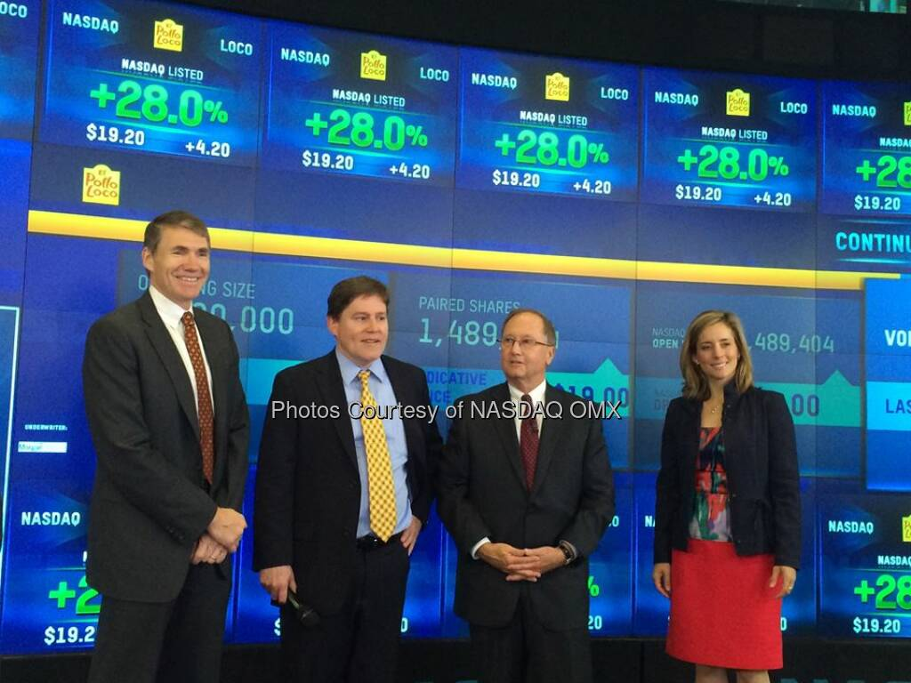 El Pollo Loco, Inc. $LOCO is now trading on #NASDAQ congratulations on your #IPO today! #dreamBIG @ElPolloLoco  Source: http://facebook.com/NASDAQ (25.07.2014)