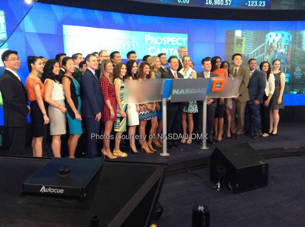 Prospect Capital celebrates its 10th listing anniversary by ringing the #NASDAQ Opening Bell! $PSEC  Source: http://facebook.com/NASDAQ (28.07.2014)