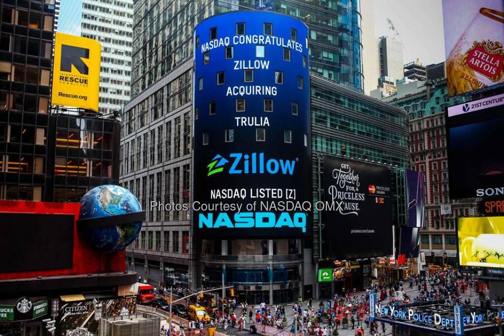 NASDAQ congratulates @Zillow on acquiring @Trulia! $Z @spencerrascoff  Source: http://facebook.com/NASDAQ (29.07.2014)