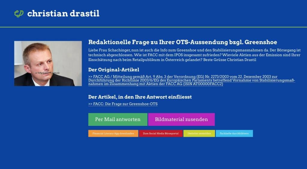 Redaktionelle Rückfrage (15) zur Greenshoe-OTS an FACC, Andrea Schachinger http://christian-drastil.com/spreadit/all (29.07.2014)