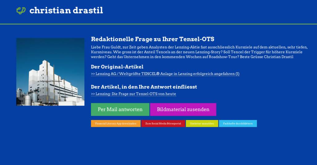 Redaktionelle Rückfrage (16) zur Tenzel-OTS an Lenzing, Angelika Guldt http://christian-drastil.com/spreadit/all (29.07.2014)