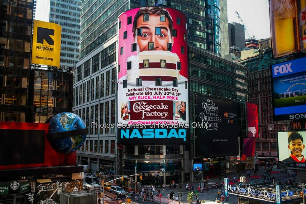 Can't wait to see your @Cheesecake selfies! Register now: http://bit.ly/1AzyRGq #SayCheesecakeContest  Source: http://facebook.com/NASDAQ (31.07.2014)