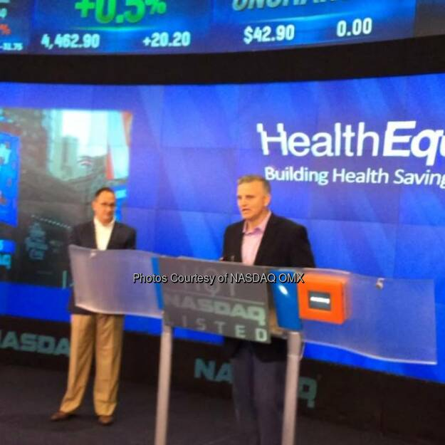 Stephen Neeleman, MD before @HealthEquity rings the #NASDAQ Opening Bell in celebration of its #IPO today! #HQY  Source: http://facebook.com/NASDAQ (31.07.2014)