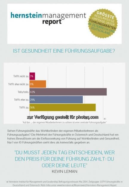 Hernstein Institut für Management und Leadership: Chefsache gesundes Führen: Umfrage unter Führungskräften, © Aussender (31.07.2014)