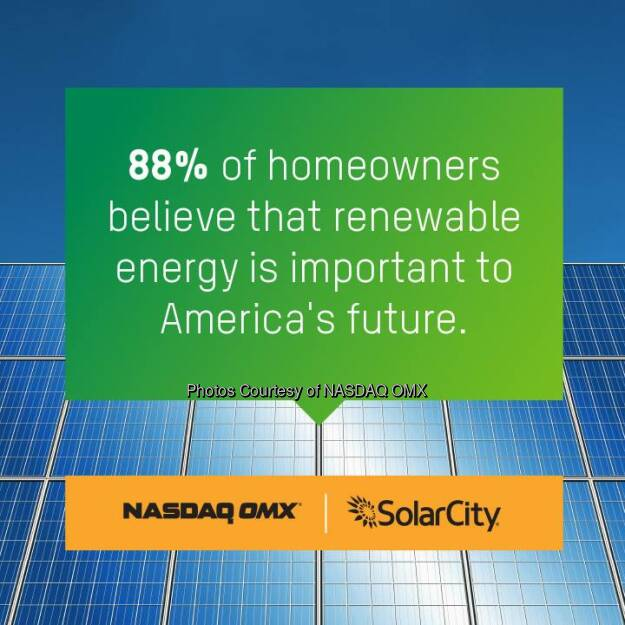 Did you know that 88% of homeowners believe renewable energy is important to America's future? @NASDAQ + @Solarcity  Source: http://facebook.com/NASDAQ (31.07.2014)
