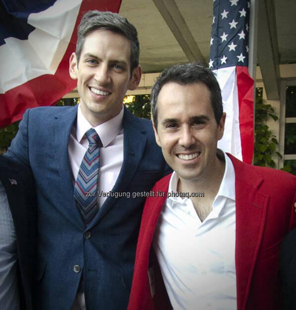 American Embassy Vienna: US Botschafter heiratet in Wien - Botschafter Daniel Baer (rechts) und Brian Walsh (c) US-Botschaft, © Aussender (01.08.2014)