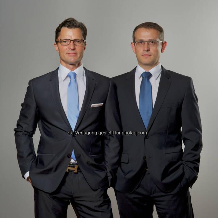 Neue Geschäftsführung bei IS Inkasso Service. Christian Kren (links), Geschäftsführer Wolfgang Affenzeller (rechts), Geschäftsführer.