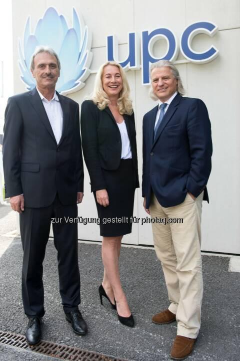 UPC eröffnet neues Kundencenter in Dornbirn: Kurt Plangger, Vice President UPC Tirol und Vorarlberg, Silvia Schöpf, Vice President UPC, Thomas Hintze, Vorsitzender des Aufsichtsrates von UPC Austria