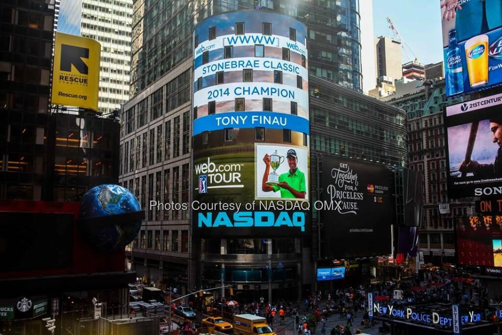 Congratulations to Tony Finau, winner of WebDotComTour's 2014 Stonebrae Classic! #WebTour  Source: http://facebook.com/NASDAQ (05.08.2014)