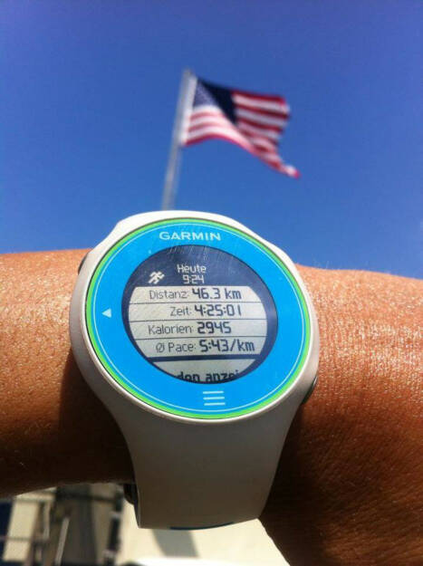 Runplugged, Monika Kalbacher umrundet Manhattan, Flagge, Fahne, Garmin, https://www .facebook.com/kalbacher.monika (05.08.2014)