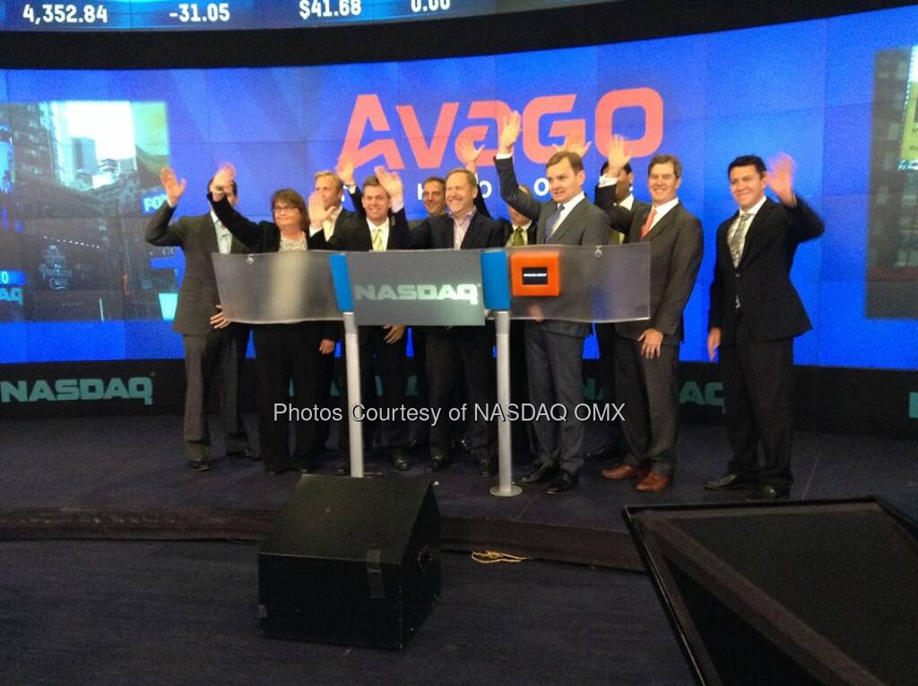 Avago Technologies celebrates their fifth anniversary of listing on #NASDAQ by ringing the Opening Bell $AVGO  Source: http://facebook.com/NASDAQ (06.08.2014)