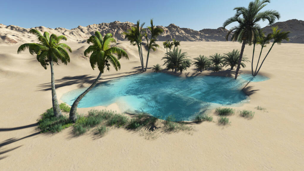 Oase, Wüste, Palmen, Sand, Wasser, Hitze, http://www.shutterstock.com/de/pic-149144414/stock-photo-oasis-in-the-desert-made-in-d-software.html , © www.shutterstock.com (21.06.2018)