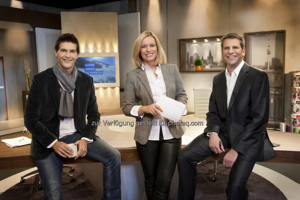 Norbert Oberhauser, Corinna Milborn, Thomas Mohr: Puls 4 startet Guten Abend Österreich (c) Gerry Frank (16.01.2013)