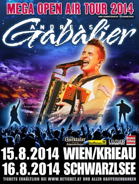 Leutgeb Entertainment Group GmbH: Andreas Gabalier kommt am 15.08.2014 in die Wiener Krieau und am 16.08.2014 nach Graz an den Schwarzlsee , © Aussender (07.08.2014)
