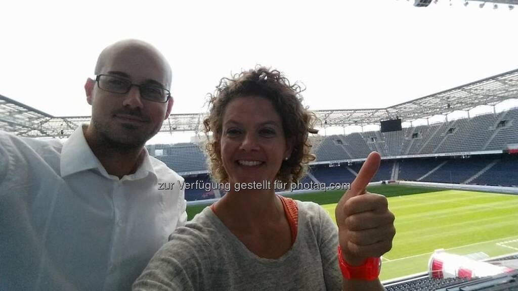 Fussball: Heute als Social Fitness Trainer in der RedBull Arena. <3  Source: http://twitter.com/ambuzzador, © Aussendung (09.08.2014)